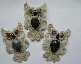 """Bobbin lace Brooch """"Sovushka"""" Russian bobbin lace Handmade"""