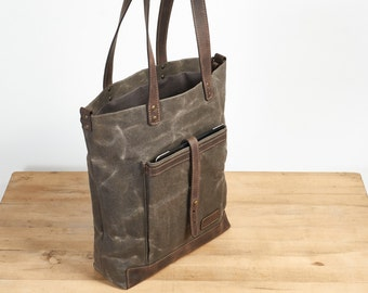 Waxed canvas tote. Brown canvas and leather tote bag.  Brown canvas bag. Womens / Mens canvas bag.