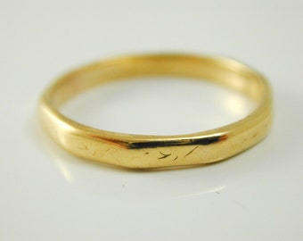 Wedding ring vintage 22 carat gold Decagon shape size P 1/2 3.2 grams 1965
