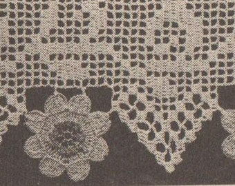 Crochet Daisy edging border pattern vintage 1969 1960s instant download