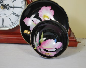 Porcelain Tea Set , Black and Pink Orchid , Japan Hand Painted Tea cup and saucer