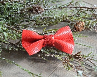 Red Leather Bow Hair Clip, Red Leather Sparkly Clip, Christmas Hair Clip,
