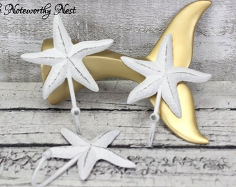 Any Color -// Cast iron starfish hook / bathroom decor // nautical decor // bedroom // sailor decor // beach decor // boat anchor / white