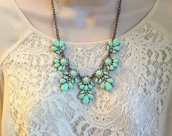 Mint Green Crystal Sparkle Chandelier Statement Necklace