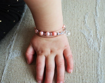 Pink Pearl and Crystal Baby/Toddler Bracelet