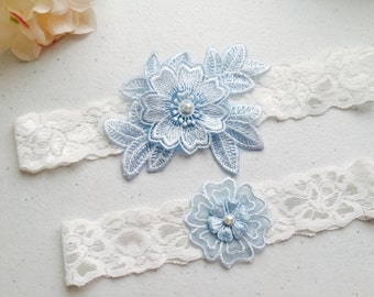 Wedding Garter - White Wedding Garter Set - off white lace Bridal Garter
