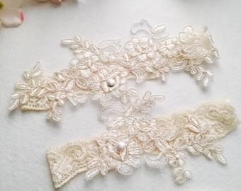 Wedding Garter , bridal garter, champagne lace garter,Ivory Lace Garter, Toss Garter