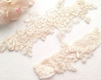 Wedding Garter , bridal garter, champagne lace garter-C04#