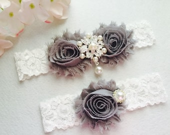 Wedding Garter - White Wedding Garter Set - Bridal Garter
