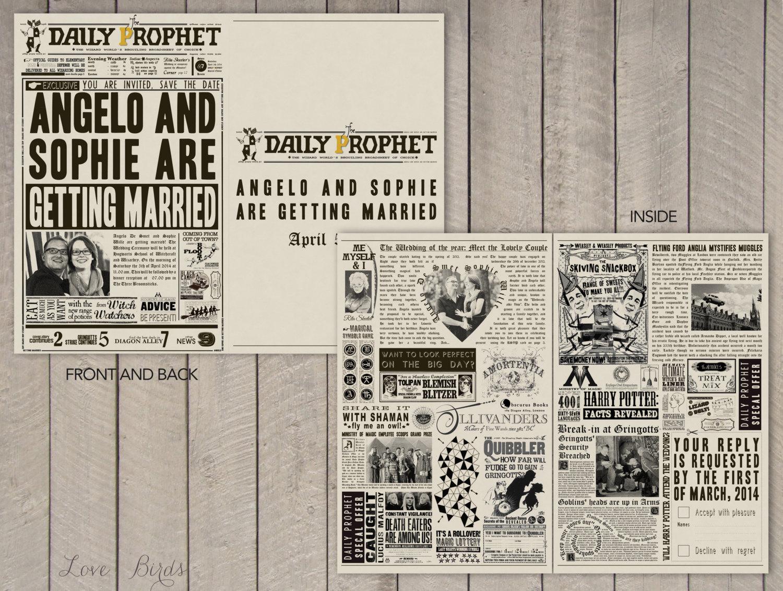 Snap Wedding Invitation Harry Potter Daily Prophet Owl Post Photos