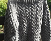 Brushed fleece hand knit jumper