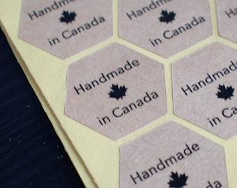hexagon handmade in canada brown kraft paper sticker black ink