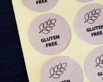 """34mm round """"gluten free"""" brown kraft sticker"""