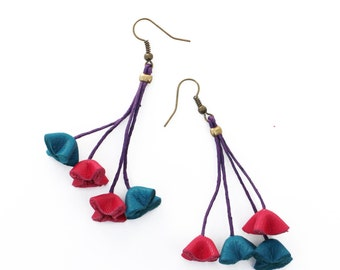 leather flowers earrings