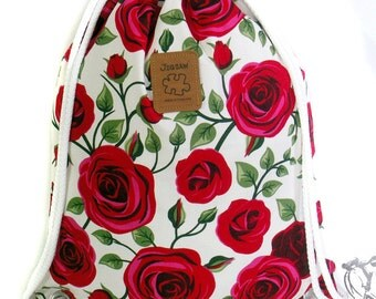 Roses Backpack Canvas Cotton drawstring Hip bag Handmade bag Gift for her