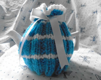 Knitted Tea Cosy for two cup pot, blue and white.