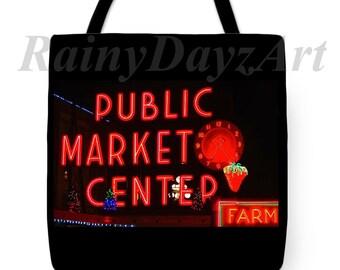 Seattle Public Market Center Tote ~ Bohemian Tote~Farmers Market Tote~ Seattle Tote Bag ~ Gift for Her~ Yoga Tote ~ 18X18 Tote