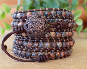 Handcrafted Leather And Gemstone Wrap Bracelet, Beaded Five Wrap Bracelet.