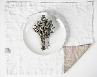 FREE SHIPPING. Set of 4 white and natural linen placemats. Reversible/double side linen placemats.