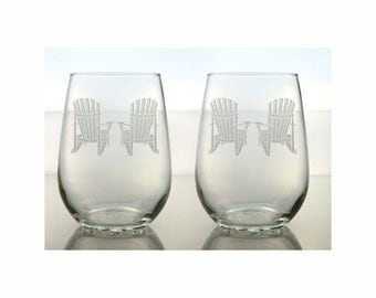 Adirondack Chair Wine Glasses / Set of 2 / Etched Stemless Glasses / Engraved Wine Glass / Perfect Retirement Gift