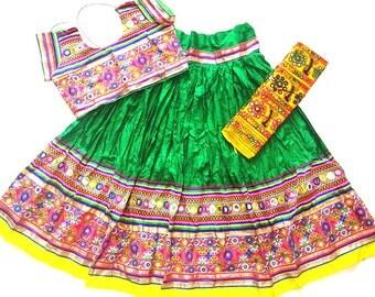 Navratri chaniya choli Green colour with lace embroidery work Lehenga Choli by Indian Designer.
