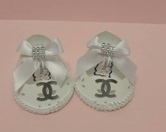 10 pc baby paper shoes,  baby shower favor box.