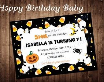 Digital File Only *** Customizable Halloween Birthday Party