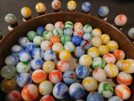Solid White Toy Marbles : Swirl toy marbles s mostly