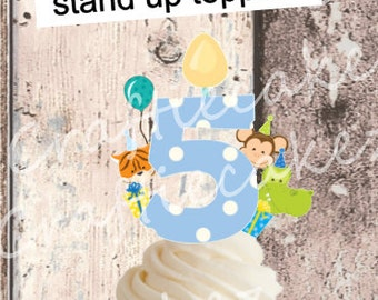 24 x Pre Cut Edible Boys Number 5 Stand Up Cupcake Toppers