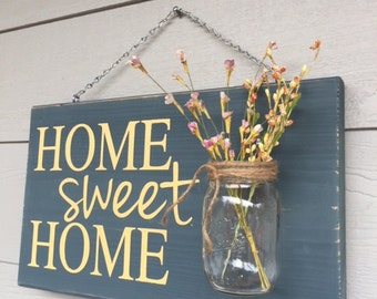 Rustic Outdoor Home Sweet Home/Yellow - Mothers Day Gift - Wood Signs - Front Door Sign - Rustic Home Decor - Wedding Gift - Home Decor