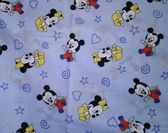 Blue Baby Mickey Mouse Fabric