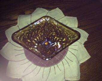 Vintage Amber Carnival Diamond Dish