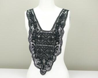 Black Floral Lace Applique Large