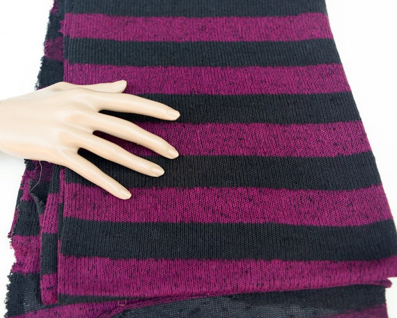 Dark Magenta And Black Stripe Boucle Open Weave Sweater Knit