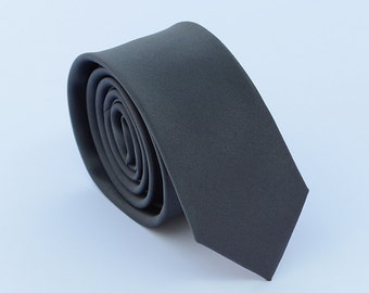 Dark Grey Solid Silk Tie.Grey Wedding Ties.Grey Neckties.Grey Suit Accessoriess