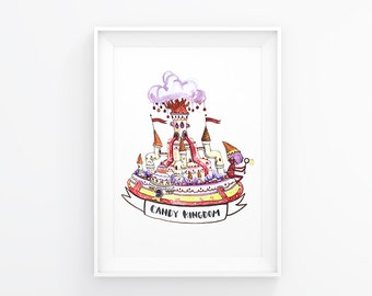 """Adventure Time """"Candy Kingdom"""" Watercolor Print"""
