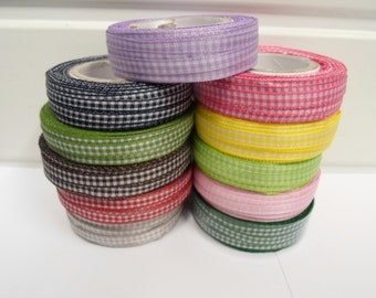 2 or 25 metres 5mm Gingham ribbon, double sided check