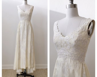 Vintage 1970' s / 1980's Priscilla of Boston taffeta wedding dress with lace details