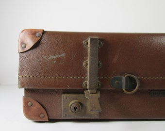 """Vintage """"Revelation"""" Suitcase - British Made """"Revelation"""" Trunk - Vintage Luggage - Caramel Brown Vintage Trunk"""