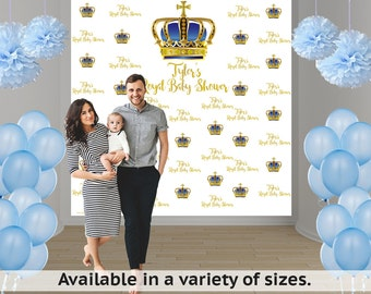 Royal Baby Shower Photo Backdrop - First Birthday Prince Step and Repeat Photo Backdrop-Photo Booth Personalized Backdrop, Printed Backdrop