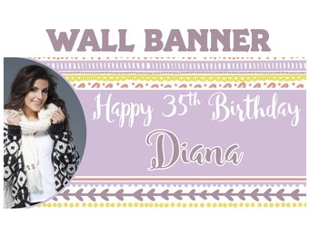 Boho Chic Birthday Banner  ~ 16th Birthday Personalize Party Banners -Milestone Large Photo Banners