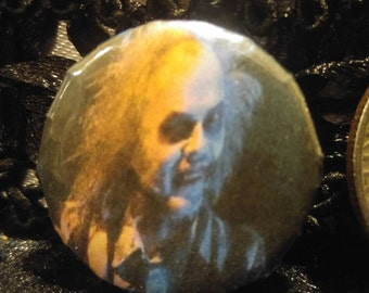 Beetlejuice, pin, button ,pinback, beteleguise, horror, ghost, tim, burton, comedy, Michael, Keaton, 1 inch