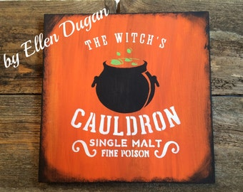 The Witch's Cauldron Sign (Orange)