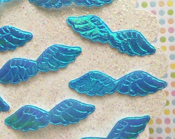 Blue angel wing appliques - iridescent wing appliques for hair bows, jewelry, planner clips and more