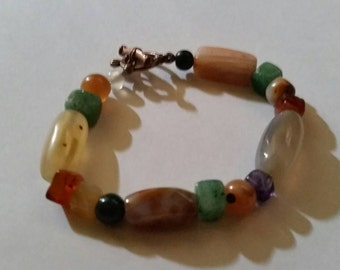 Polished Stone or Glass Beaded Bracelet Boho Jewelry
