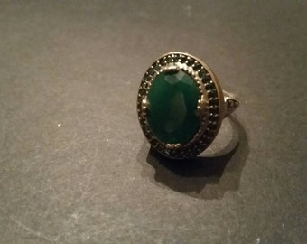 Sterling Silver Ring Bali Persian Green Stone 925 Statement Ring
