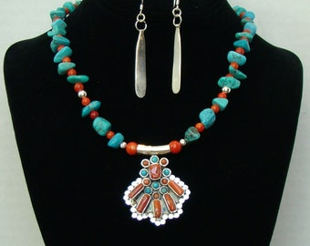 Turquoise, Coral & Silver Pendant Necklace