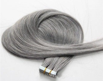 8A Remy Granny Grey Human Prebonded Tape Hair Extensions Hair Extensions