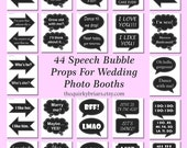 DIY Photo Booth Props / Chalkboard Speech Bubbles / Weddings / Parties / 44 Pcs  / Party Printable / Decors / Digital Instant Download
