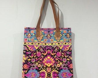 Tribal Canvas Tote Bag, Neon Fabric, Leather Handles, Black